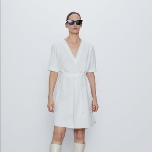 NWT Zara Textured White Dress with Belt - Size S